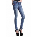 Light Color Pencil Jeans with Mid Rise