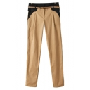 Color Block Zipper-fly Pants with Pockets and Belt
