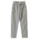 Mono Stripes High Waist Loose Pants with Bow