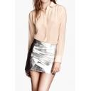 Silver Elastic Waist Mini Skirt in PU