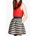 Mono Stripe Print Zip Back Skater Skirt with Pleat Detail