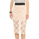 Sexy Semi Sheer Lace Skirt with Elastic Contrast Wasit
