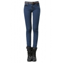 Mid Waist Zip Fly Pocket Skinny Jeans