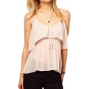 Plain Drawstring Tie Front Cami Top with Peplum Hem