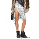 Shimmering Elastic Waist Midi Skirt with Split Side
