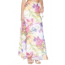 Beautiful Floral Print Maxi Skirt with Side Split