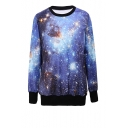 Shimmering Sky Print Round Neck Sweatshirt with Contrast Trim