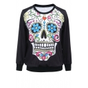 Colorful Skull Print Round Neck Sweatshirt for Halloween