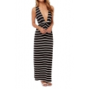 Stripe Print Plunge Neck Maxi Dress with Cutout Back