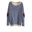 Contrast Trim Elbow Patch Long Sleeve Sweatshirt in Stripe Print