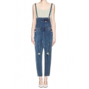Blue Skinny Pocket Front Ripped Denim Overalls