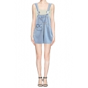 Light Wash Special Pocket Designed Denim Overall Shorts with Button
