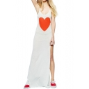 Sweet Heart Pattern Maxi Slip Dress with Split Side