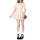 Plain Pleated Short Sleeve Dress in Mini Length