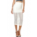 Stripe Print Bodycon Sheer Skirt in Tea Length