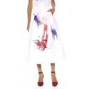 Abtract Face Print Midi Dress with Elastic Waist