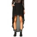 Lady-like Elastic Waist Dip Hem Chiffon Skirt