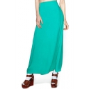 Plain Chiffon Maxi Skirt with Double Slit