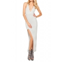 Sexy Plunge Neck Crossback Skinny Dress with Side Slit