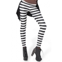 Mono Stripe Print Leggings with Elastic Waist