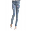Colorful Letter Print Zip Fly Skinny Jeans