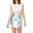 Shining Silver Mini Skirt with Asymmetric Hem