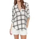 Mono Check Print V-neck Shirt with Long Sleeve