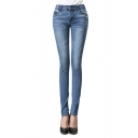 Mid Waist Zip Fly Skinny Jeans with Pockets