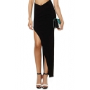 Black Zip Side Maxi Skirt with Asymmetric Hem