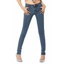 Comfortable Zip Fly Skinny Jeans with Mid Rise