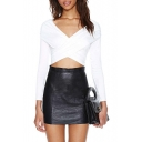 Wrap Front Long Sleeve Cropped Top in Skinny Fit