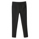 Plain Zipper Fly Double Pocket Ankle Length Pants