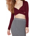 Cross Front V-neck Long Sleeve Cropped Top