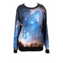 Cosmic Print Round Neck Long Sleeve Sweatshirt