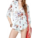 Floral Print V-neck Blouse with 3/4 Length Long Sleeve
