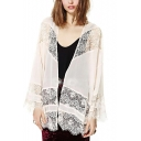 Elegant Lace Panel Open Front Kimono with Long Sleeve
