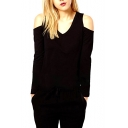 Sexy Cold Shoulder V-neck Skinny Top with Long Sleeve