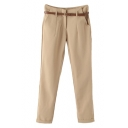 Plain Zip Fly Skinny Pants with Belt