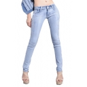 Fashionable Studded Pencil Jeans in Light Wash
