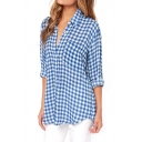 Gingham Print Long Sleeve Tunic Shirt with Pocket Front