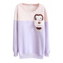 Cartoon Monkey Color Block Round Neck Long Sleeve Sweatshirt