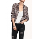 Leopard Print Long Sleeve Zipper Fly  Crop Jacket