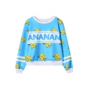 Banana Letter Print Stripe Long Sleeve Sweatshirt
