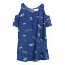 Cross Letter Print Cold Shoulder Zipper Denim Dress