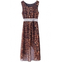 Leopard Print Round Neck Sleeveless Fitted Dress