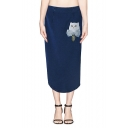 Cat Print Zipper Fly Midi Skirt with Back Split