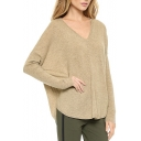 Laid Back Bat Sleeve Sweater with V-Neck