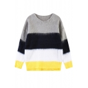 Color Block Round Neck Long Sleeve Faux-Fur Sweater