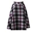 Plaid Zipper Fly Woolen Midi Full Skirt