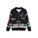 Man and Graffiti Print Baseball Jacket with Zipper Fly